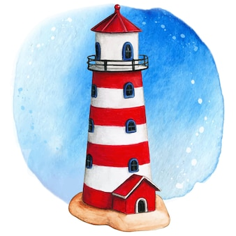 Watercolor hand painted lighthouse red white and blue