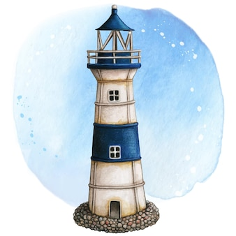 Watercolor hand painted lighthouse rusty white and blue