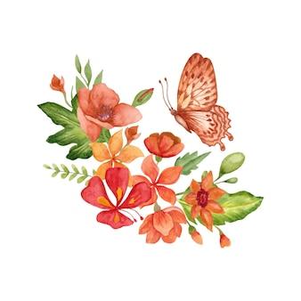 水彩の手描きの素敵なカラフルな春の花と葉の花束