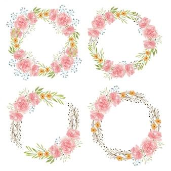 水彩の手描きのカーネーションの花サークルフレームセット
