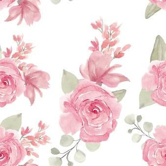 水彩の手描きのピンクのバラのシームレスパターン