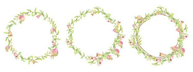 分離された水彩画の手描きザクロの花輪フレームコレクション