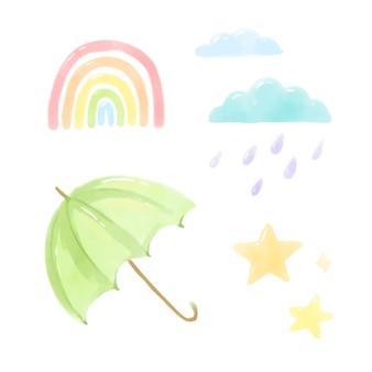 Watercolor hand painted rain elements
