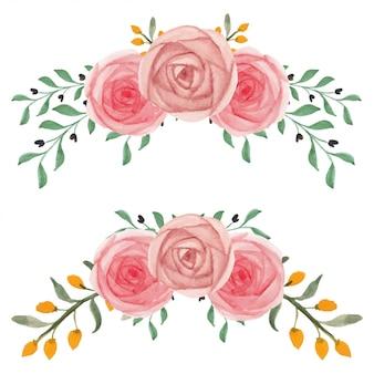 수채화 손으로 그린 장미 꽃꽂이 세트