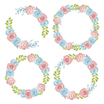 Watercolor hand painted rose floral wreath collection