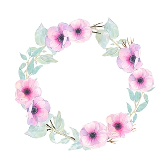 Watercolor hand painted round wreath with flower pink anemone and green leaves isolated on white