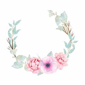 Акварель ручной росписью круглый венок с цветком розового пиона анемона и зеленых листьев, изолированных на белом