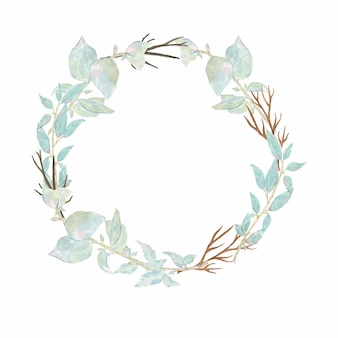 Watercolor hand painted round wreath with flower pink peony anemone and green leaves isolated on white