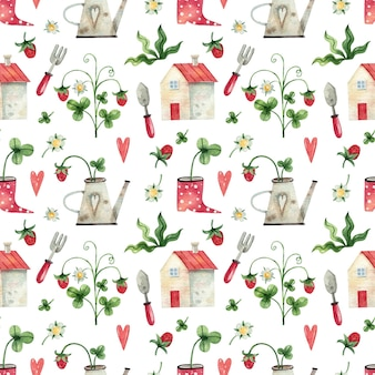 Watercolor hand painted seamless pattern with berries herbs and house garden tools