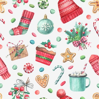 Watercolor hand painted seamless pattern with christmas illustrations.