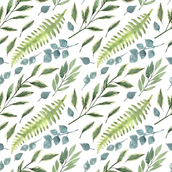 Watercolor hand painted seamless pattern with garden greenery branches.