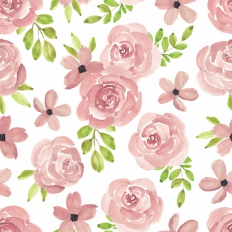 Watercolor hand painted seamless pattern with pink rose flower