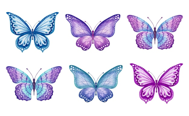 Watercolor hand painted spring butterflies set collection