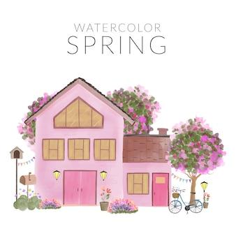 수채화 손으로 가정과 정원이있는 봄 풍경을 그린