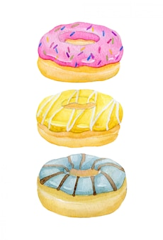 水彩の手が甘くて美味しいドーナツを塗り、クリームと砂糖漬けの菓子