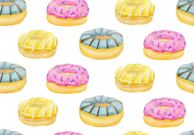 Watercolor hand painted sweet and tasty donut glazed with cream and sprinkling confectione