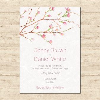 Watercolor hand painted wedding invitation