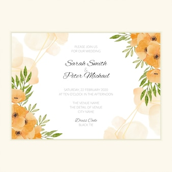 Watercolor hand painted wedding invite card with floral frame