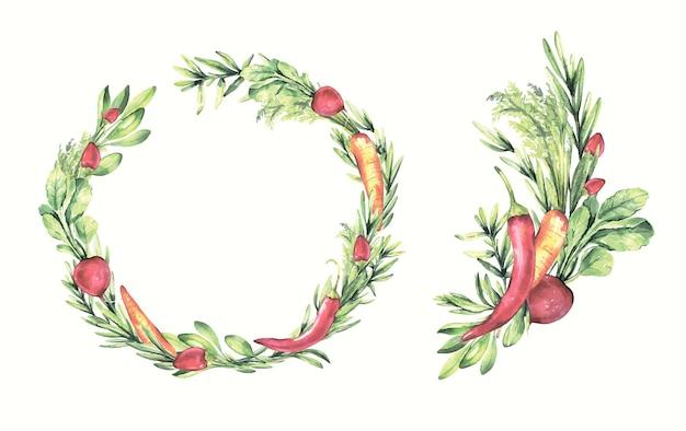 Акварельные ручные росписи венков с овощами