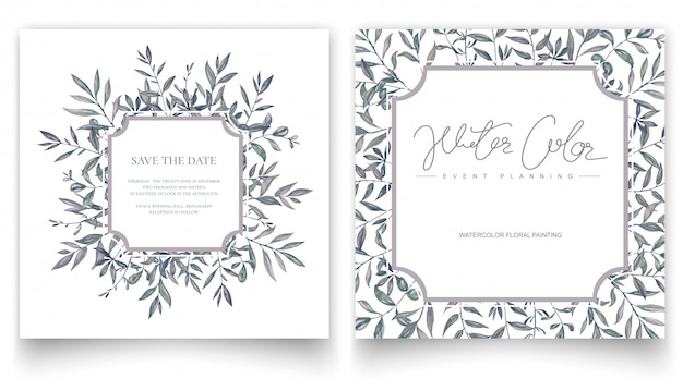 Watercolor hand painting leaves, invitation card.