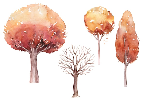 Watercolor handdrawn autumn tree set made in vector