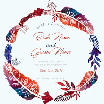 Watercolor Handmade Feather Ring Wedding Invitation Card