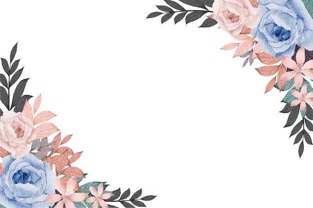 水彩手描き花フレームコレクション結婚式の招待カードテンプレート