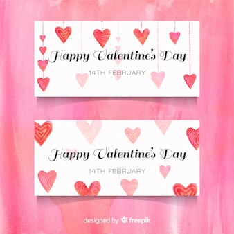 Watercolor hanging heart valentine banner
