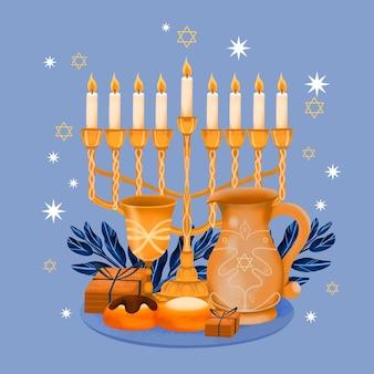 Concetto di hanukkah dell'acquerello