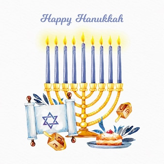 Watercolorhanukkah illustration with delicious cake and candles