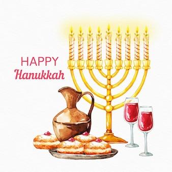 Watercolorhanukkah illustration with delicious cake