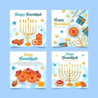 Collezione di post di instagram hanukkah ad acquerello
