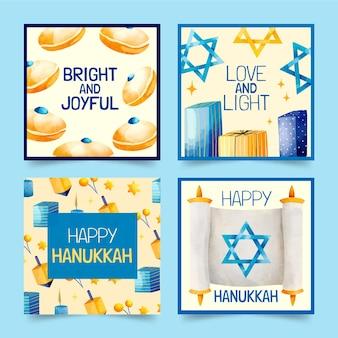 Raccolta di storie di instagram di hanukkah ad acquerello
