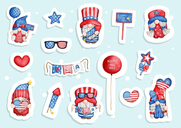Watercolor happy 4th of july gnomes  4th of july sticker planner and scrapbook Premium Vector