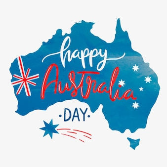Watercolor happy australia day