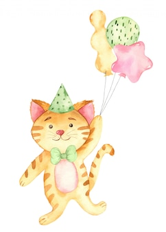 Watercolor happy birthday baby ginger cat and balloons