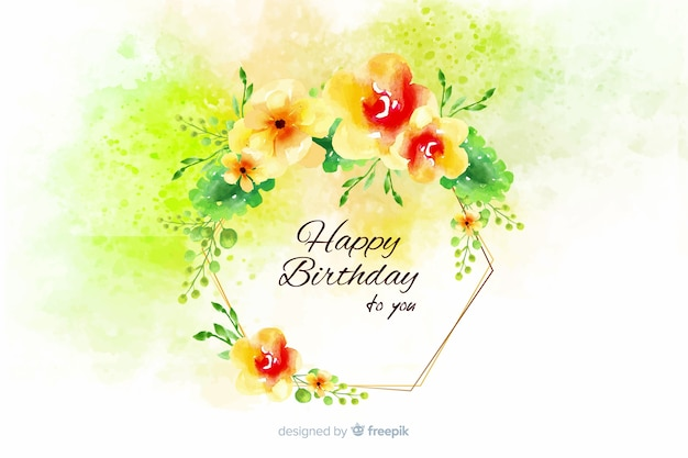 Watercolor happy birthday background with flowers