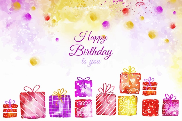 Watercolor happy birthday background with gifts