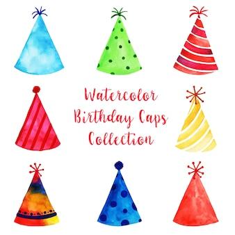 Watercolor happy birthday cap's collection