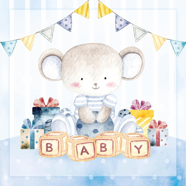 Watercolor happy birthday card baby mouse boy