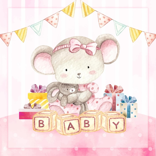 Watercolor happy birthday card baby mouse girl