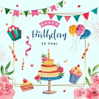 Акварельная открытка с днем рождения