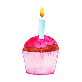 Watercolor happy birthday cute cupcake
