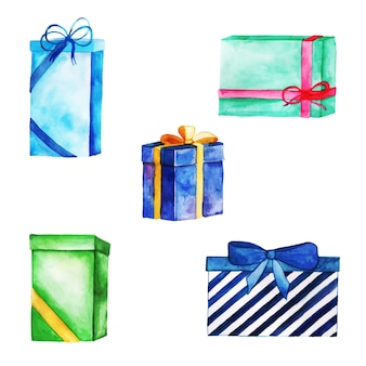 Watercolor happy birthday gifts collection