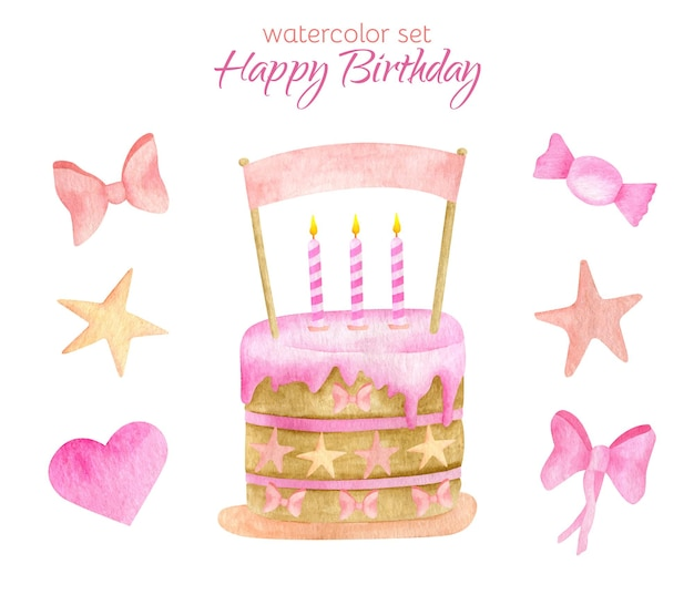 Watercolor happy birthday set. cake with candles and topper illustration