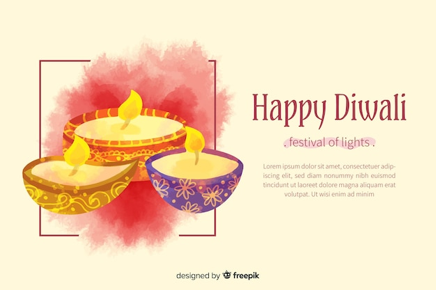 Watercolor happy diwali background