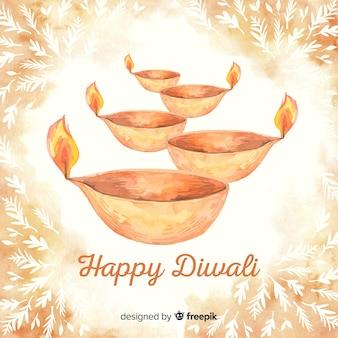 Watercolor happy diwali background