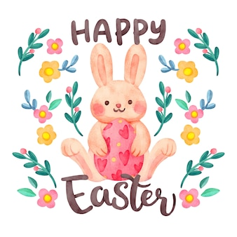 Watercolor happy easter day banner