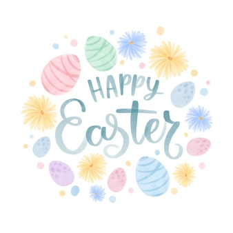 Watercolor happy easter day concept