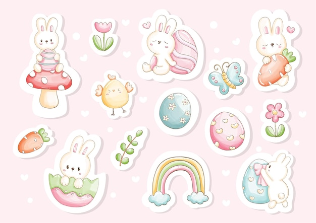 Watercolor happy easter day stickers with cute bunny and easter's elements